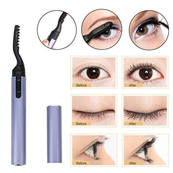 Hunputa Eyelash Curler,Heated Eyelash Curler with Comb Design Cool Design Pen Electric Heated Makeup Eye Lashes Long Lasting