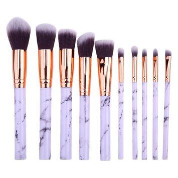 JUN_L 10 Pieces Marble Makeup Brushes Special Marble Pattern Premium Make Up Brush Set Synthetic Kabuki Cosmetics Foundation Blending Blush Eye Shadow Brush Face Powder Brush