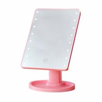 Compact 360 Degree Rotation Desktop Makeup Mirror 16LED Luminous Touch Screen USB Rechargeable Cosmetic Mirrors