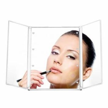 LED Makeup Mirror Portable Tri-Fold 8 LED Makeup Lighted Travel Mirror Compact for Cosmetic Makeup