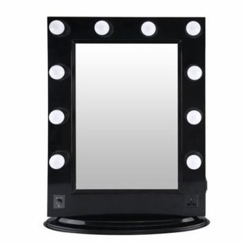 DIY Stable Aluminum Alloy Dressing Tabletop Mirror Hollywood Makeup Mirror With Bright LED Light Bulbs US Plug
