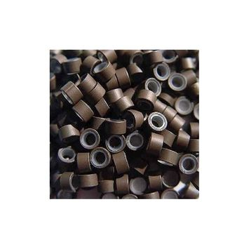 500 PCS 5mmx 3.8mmx3mm Brown Color Silicone Micro Links Rings Beads for Bonded Tipped Hair Extensions