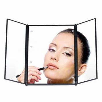 Portable Tri-Fold 8 LED Lighted Travel Mirror Compact for Cosmetic Makeup On Sale Clearance