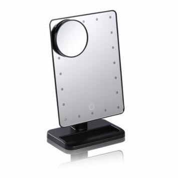 Black 20 LED Light Beauty Cosmetic Make Up Illuminated Desktop Stand Mirror