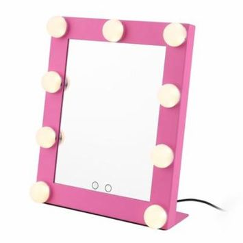 LIMSWJ Portable Touch Screen 9 LEDs Bulb Lighted Tabletop Beauty Makeup Bath Mirror