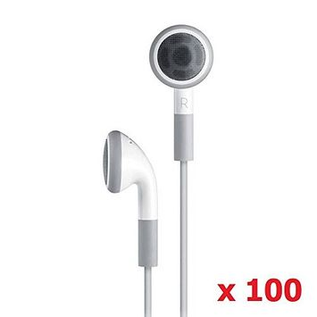 SeattleTech Wholesale (100 Pack) Disposable Simple White Earphones Headphone Headset for iPhone 7 6 6s 6plus plus 5 5s 4 4s 3G 3Gs iPod MP3 MP4