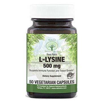 Natural Nutra L Lysine HCl, Free Form Alpha Amino Acid Supplement, Non GMO, Vegan, 500 mg, 50 Capsules