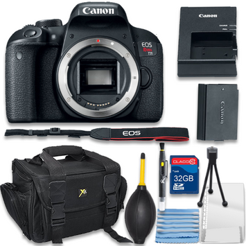 Als Variety Canon EOS Rebel T7i Digital SLR Camera Body Only Bundle includes Camera, 32GB Memory Card, Bag, Cleaning Kit