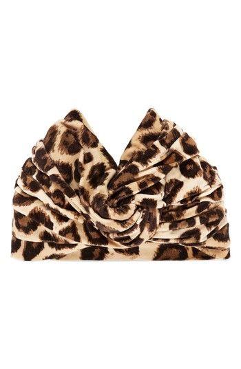Gucci Lucileo Leopard Velvet Turban Headband, Size Medium - Beige