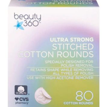 Beauty 360 Ultra Strong Stitched Cotton Rounds, 80CT