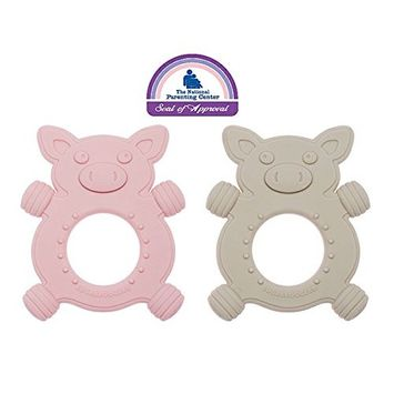 Sugarbooger Silicone Teether Set-of-Two, Giggly Piggly
