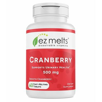 EZ Melts Cranberry for Urinary Health, 500 mg, Sublingual Vitamins, Vegan, Zero Sugar, Natural Cranberry Flavor, 60 Fast Dissolve Tablets