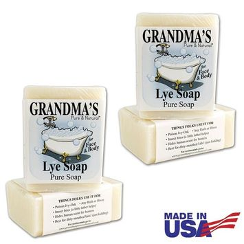 Grandma's Pure Lye Soap Bar - 6.0 oz Unscented Face & Body Wash Cleans with No Detergens, Dyes & Fragrances - 60018 (4 Pack)