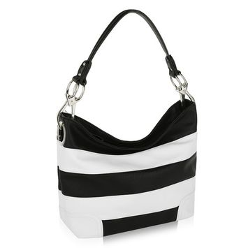 Emily Soft Vegan Leather Stripe Hobo Handbag