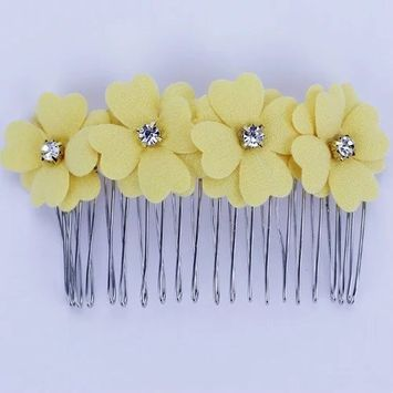 Brendacosmetic Fashion Woman Korean Style Clover four flower Tiara Hairpins hair Comb clips ,Small fresh Colorful hair styling tool hair comb clips for women ladies girls