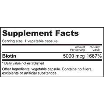 NutraBio Biotin (5,000 mcg) - 120 Vegetable Capsules (for Hair Growth, Skin, and Stronger Nails)