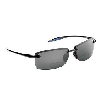 Flying Fisherman Cali Polarized Sunglasses Black Frame with Smoke Lens Bifocal Reader 150