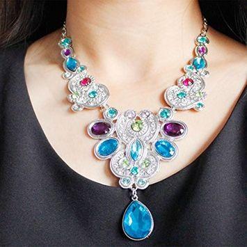 Fheaven Pendant Chain Women Statement Crystal Bib Beaded Collar Necklace Choker