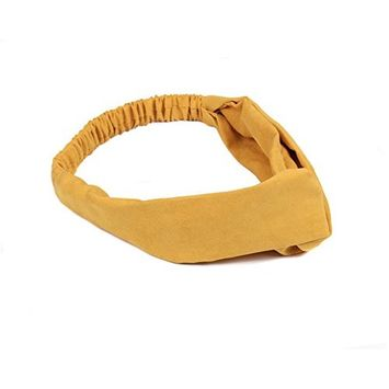 1 PCS Lovely and Sweet Suede Cross Knot Headband Hair Hoop Band Bowknot Bandeau Hair Ornament Modelling Headdress Best Gift for Ladies and Girls