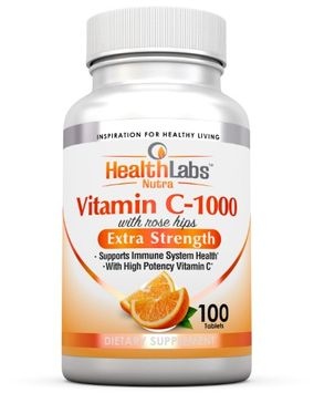 Health Labs Nutra Extra-Strength 1,000 mg Vitamin C with Rose Hips Tablets, 100 Ct