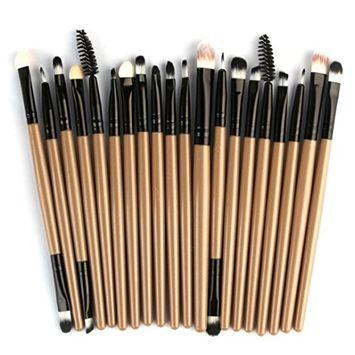 Powder Make up Brushes, CYCTECH Professional Eyeshadow Foundation Blush Brush Sets Blending Essential 20 Pieces Travel Kit Beauty Blender Tools (G