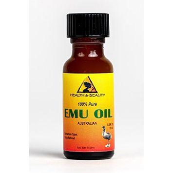 Emu Oil Australian Organic Triple Refined Premium Quality Natural 100% Pure 0.5 oz in Glass Bottle