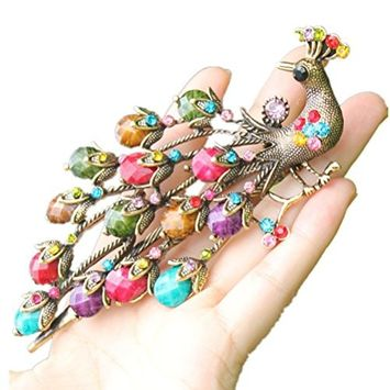 cuhair handmade 1pc vintage peacock Phoenix crystal rhinestone design for women hair clip hair barrette hair pin hair claw hair accessories gift, Size 136CM