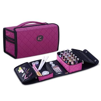 KIOTA Compact Nail Polish and Manicure Set Storage Case, Secure Soft Organizer with Magnetic Closure and Handle, Orchid
