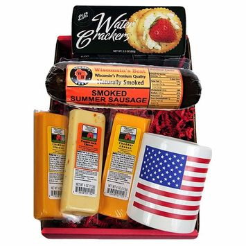 Wisconsin Cheese, Sausage & Crackers USA Gift Basket - features a USA Flag Mug, Wisconsin Cheeses, ORIGINAL Summer Sausage & Water Crackers - A Great Gift for Any Occasion!