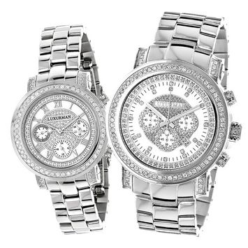 Matching His and Hers Watches: LUXURMAN Diamond Watch Set 4.5ct