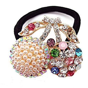 cuhair 1 pieces top elastic crystal rhinestone pearl design for women hair tie ponytail ponytail hair band hair rope hair rubber hair accessories