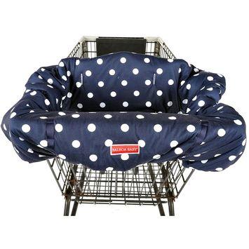 Balboa Baby Jersey Shopping Cart Cover - Navy & White Jumbo Dot
