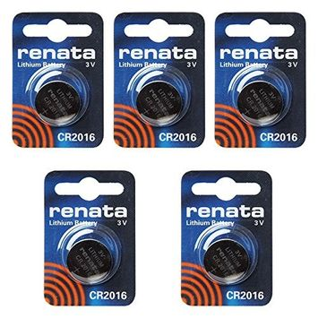 renata CR2016 Cell Coin Button Lithium Battery 3V Tag Watch Key x5 Made in swiss