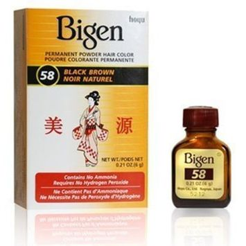 Bigen #58 Black Brown Permanent Powder Hair Color 6 gram Bottle