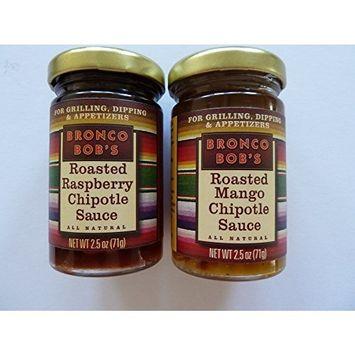 BRONCO BOB'S - Chipotle Sauces (All Natural)- 2.5 Oz (Raspberry & Mango Combo - 2 Bottles)