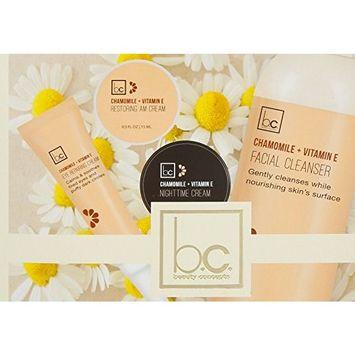 BEAUTY CONCEPTS 4 Pc Chamomile & Vitamin E Moisturizing Kit [ Eye reparing cream / restoring AM Cream / Night time cream / Facial Cleanser ]