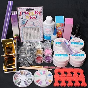 20 in 1 Nail Art Pink Clear White UV Gel Kit UV Brush Buffer Guide Toe Seperator Glitter Powders Tool Nail Tips Glue DIY Set