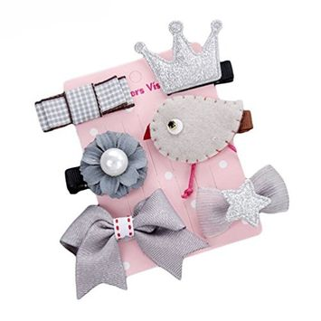 Polytree Baby Kids Girls Lovely Bowknot Hairpins Barrettes Princess Hair Clip Accessories Set