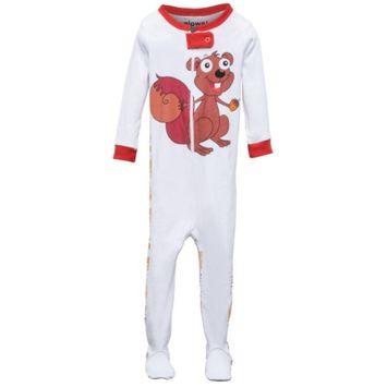 Elowel Pajamas Elowel Little Girls Brown Chipmunk Print Zipper Footed Pajama Sleeper 3
