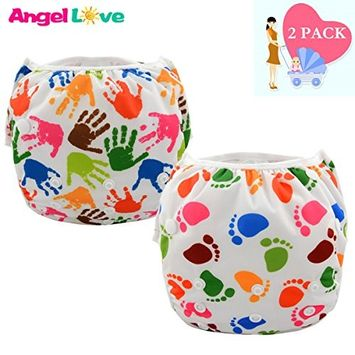 Swim Diaper, Angel Love 2Pcs Pack Big One Size Washable and Reusable Swimming Diaper, Adjustable & Stylish Fits Newborn to Toddler(ZSWD0506)