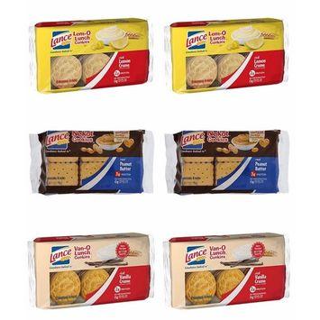 Variety Lance Cookies, Vano-O (Vanilla), Lem-O (Lemon) and Nekot Peanut butter, 6 Packs of 6 Individual 4-packs, Total 36 Individual Packs