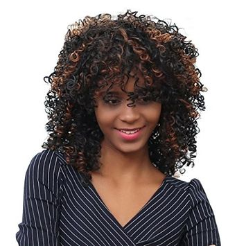 OVERMAL Shaggy Afro Curly Heat Resistant Synthetic Fashion Wig Hair For Women