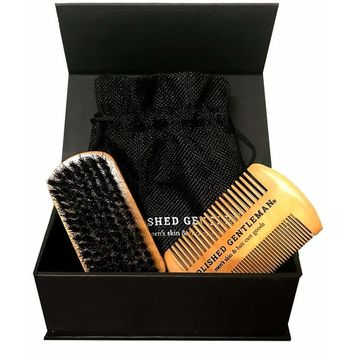 Beard Brush and Comb Set for Men - Natural Boar Bristle Brush and Durable Wooden Comb Grooming Kit - Maintains Soft, Shiny and Smooth Facial Hair - Mustache Straightening and Shaping Tools [Beard Comb & Brush Kit]