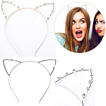 Buytra Women's Girls Rhinestone Crystal Cat Kitty Ears Headband for Party Masquerade Fancy Dress Costume, Gold, Silver, Pack of 2