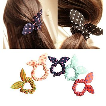 10PCS 2.3'' Outer Diameter Bunny Ears Rubber Hair Bands-Ponytail Holder Elastic Cotton Stretch Hair Ties Hair Styling Tools Headband Scrunchie Hair Accessories for Kids Children (Color Random)