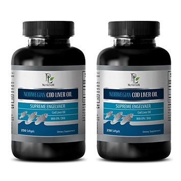 Brain booster supplements - NORWEGIAN COD LIVER OIL with Vitamins A & D3/EPA & DHA - Epa dha - 2 Bottles 500 Softgels