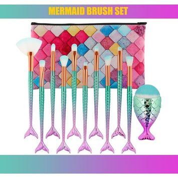 Eye Crown Synthetic Quality Good Makeup Brushes Set with Case Mermaid Shape 11 Pieces - Foundation Blush Face Concealer Eyeliner Shadow Cosmetics Brush Set