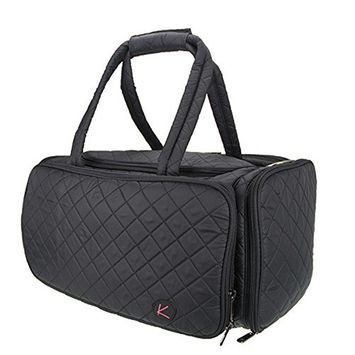 Kiota Quilted Tote Beauty Duffel Bag With 4 Side Compartments Ideal for Cosmetic Bottles Brushes Accessories