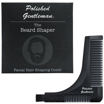 Polished Gentleman Stylish Beard Comb & Shaper Kit - Durable & Portable Mustache Trimmer Guide - Neckline, Cheeks, Sideburns & Goatee Template - Beard Straightener & Outliner for Beard Balm. Wax & Oil
