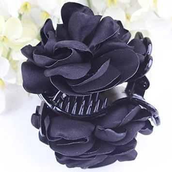 Polytree Ladies Girl's Rose Flowers Hair Claw Plastic Hair Clip Accessory